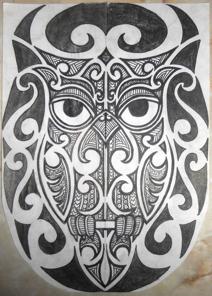 polynesian Owl Tattoo | Half Sleeve Tribal Tattoo Design
