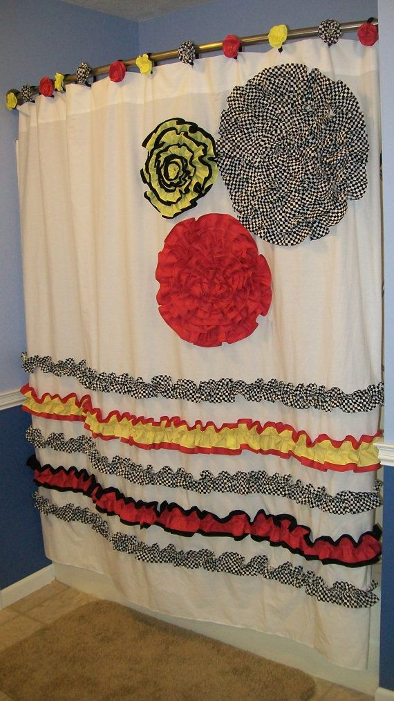 Attractive Shower Curtain Custom Made Designer Fabric Ruffles And Flowers Cranberry  Red, Yellow, Black,