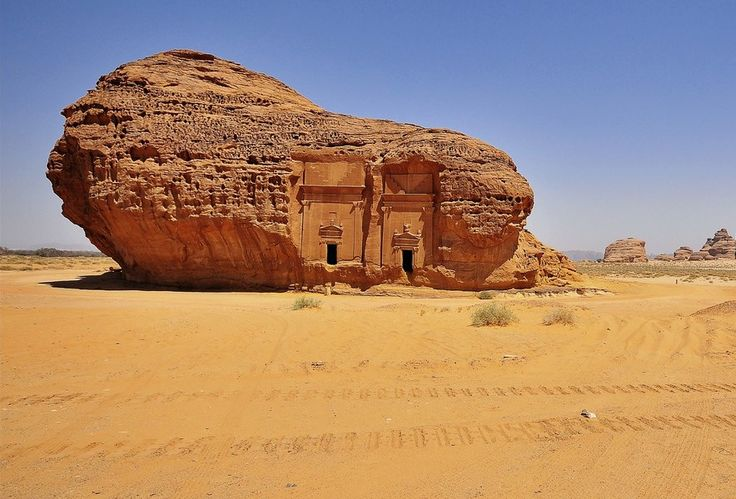 Mada'in Saleh, Al Madinah region, Saudi Arabia. Ancient Lihyan and Nabatean city with 131 monumental rock-cut structures, built since approximately 6th BCE. Photo: Jawad Roumi