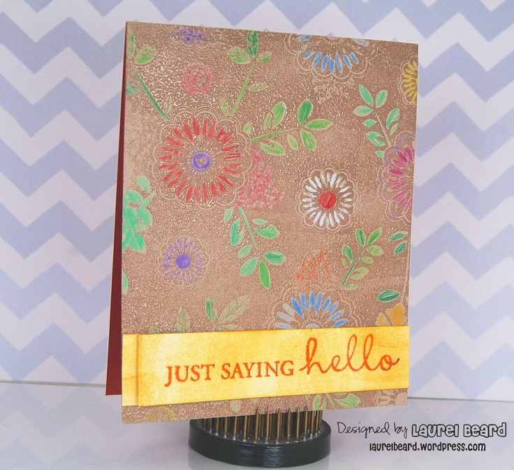 Coloring on Kraft with Prisma Pencils and @Hero Arts stamps!