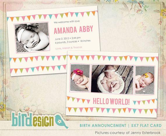 Birth announcement template Birth Celebration E490 by birdesign, $8.00
