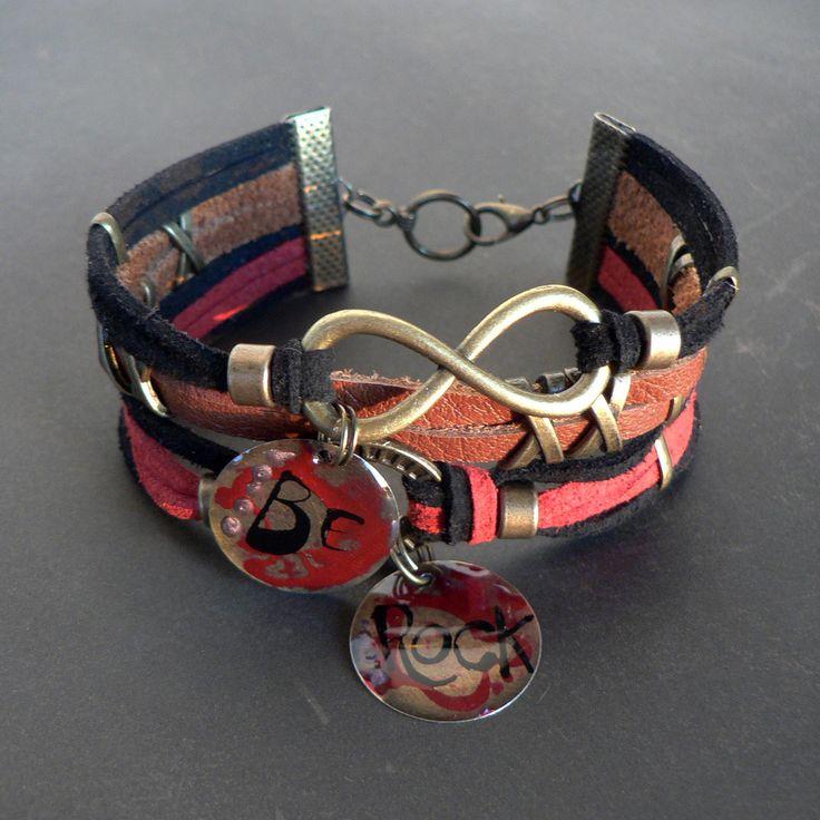 """bracelet manchette cuir & suédine """"Be Rock"""" fait main - tons rouge, camel et noir - métal couleur bronze : Bracelet par l-oiseau-seraphine"""