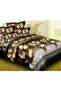 Black Magic Double Bed Sheet Set is made from Super Fine Polycotton Fabric using Reactive Printing Technology (Called 3D Prints) Contents: Three Pieces Bed sheet set 1 piece Double Bed Sheet 230X250 cms.