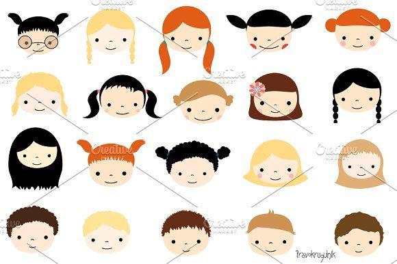 Cute Kid Faces Clipart Set Clip Art Cute Kids Child Face