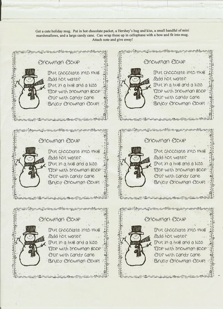 This is a picture of Divine Free Snowman Soup Labels