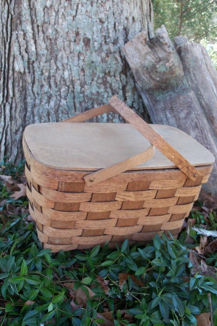Picnic Basket Midcentury Quarter Sawn Tiger Oak Basket Village Putney Vermont FIND With Dishes. $42.00, via Etsy.