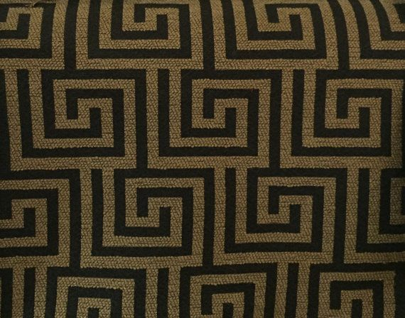 Black And Gold Greek Key Upholstery Fabric By The Yard Geometric Fabric Upholstery Fabric Greek Key