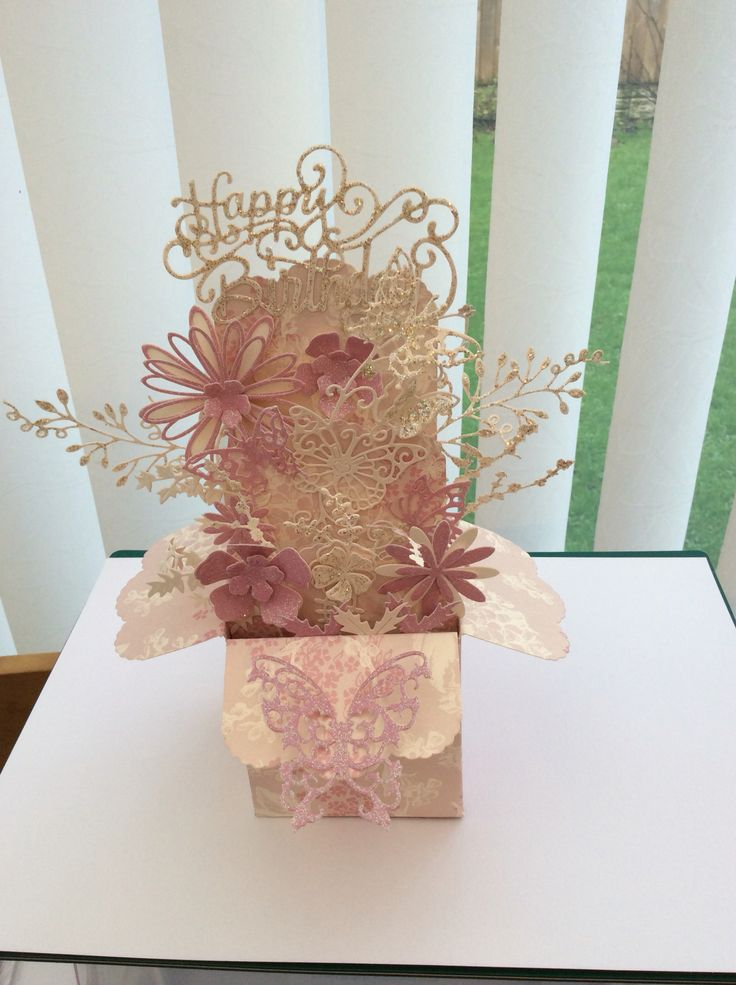 Pop up box card using Robert Addams template & dies and dies by Sue Wilson & Tattered Lace card stock by Cranberry Card Company.