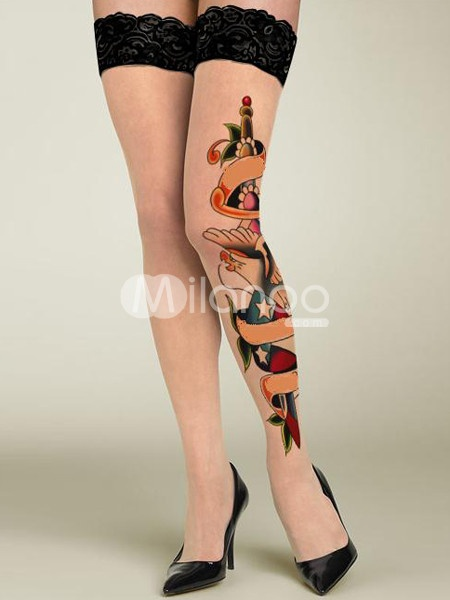 Colorful Nylon Lace Trim Tattoo Print Women's Thigh High Stockings $8