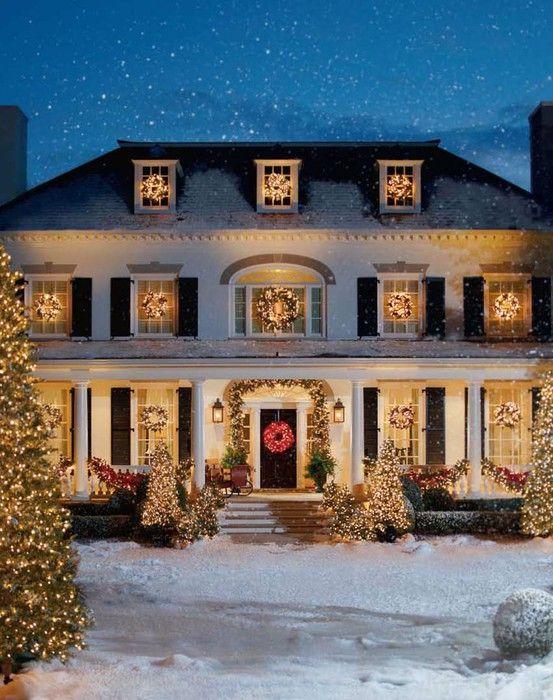 Christmas exterior decor at night