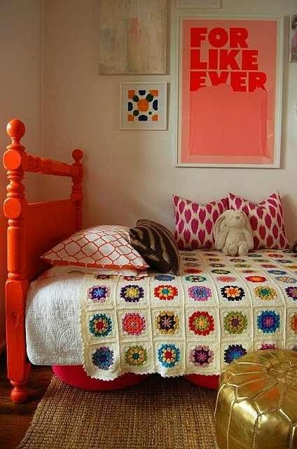 bohemian woodland design inspiration | Perfectly Imperfect Blog  I love the bright head board: Crochet Blankets, Afghans, Headboards, Colors, Orange Beds, Beds Frames, Granny Squares, Girls Rooms, Kids Rooms