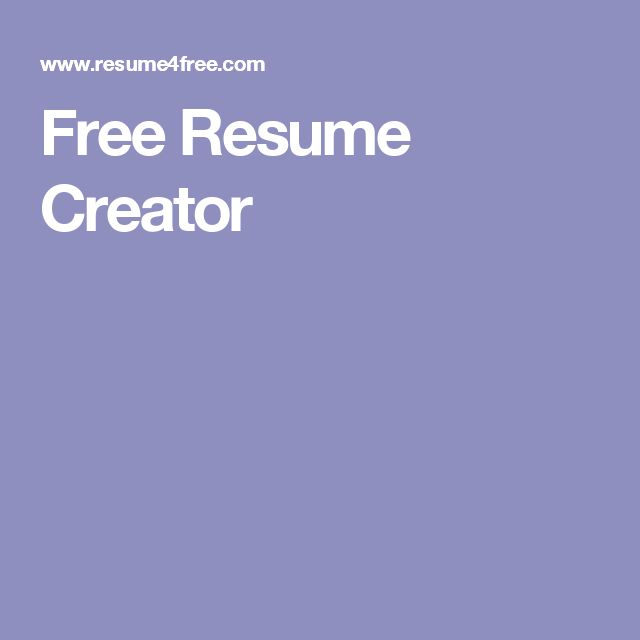 Free Resume Creator