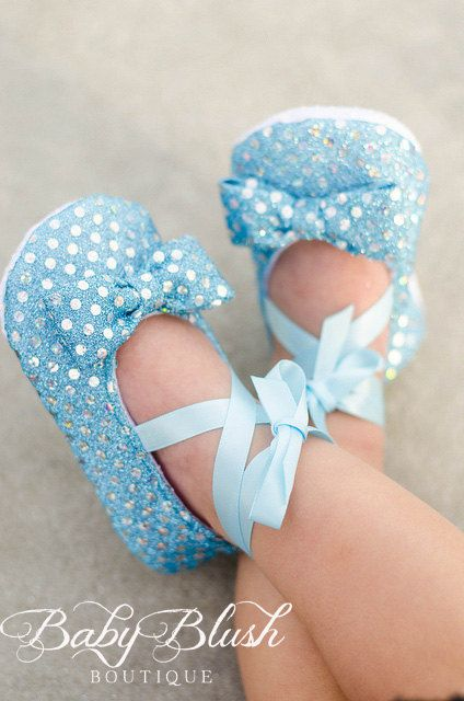 Light Blue Sequin Baby Shoes Baby Ballerina Slipper