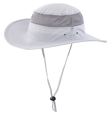 Unisex Outdoor Mesh Sun Hat Camouflage Boonie Bucket Hats Fishing Hats with String Gray, 55 60cm.