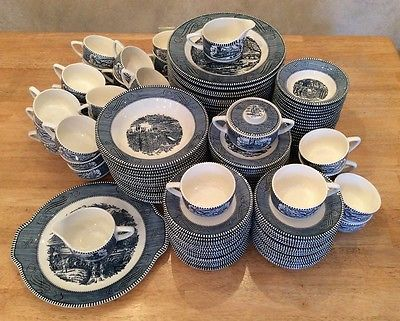 145 Piece Currier u0026 Ives Blue and White Dinnerware by Royal China & 89 best Currier u0026 Ives Dinnerware images on Pinterest | Currier and ...