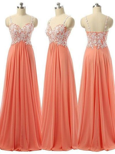 Coral Prom Dress 2017,Sexy Straps Appliqued Chiffon Prom Gown,Formal Evening…