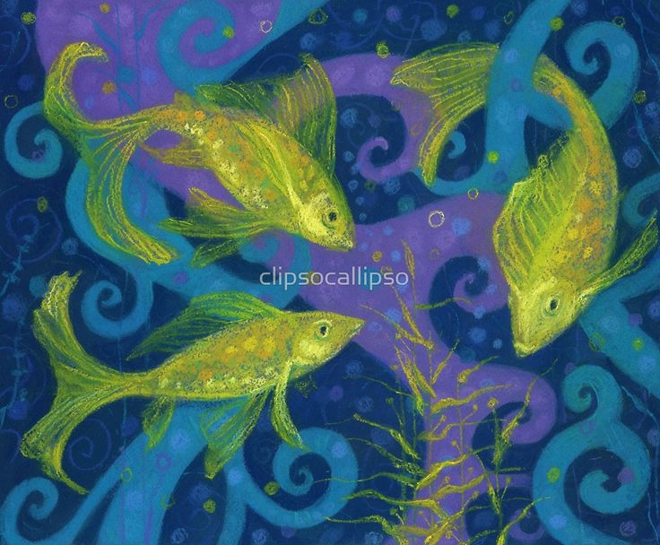 """""""Golden Fishes, underwater creatures, blue & yellow"""" by clipsocallipso 