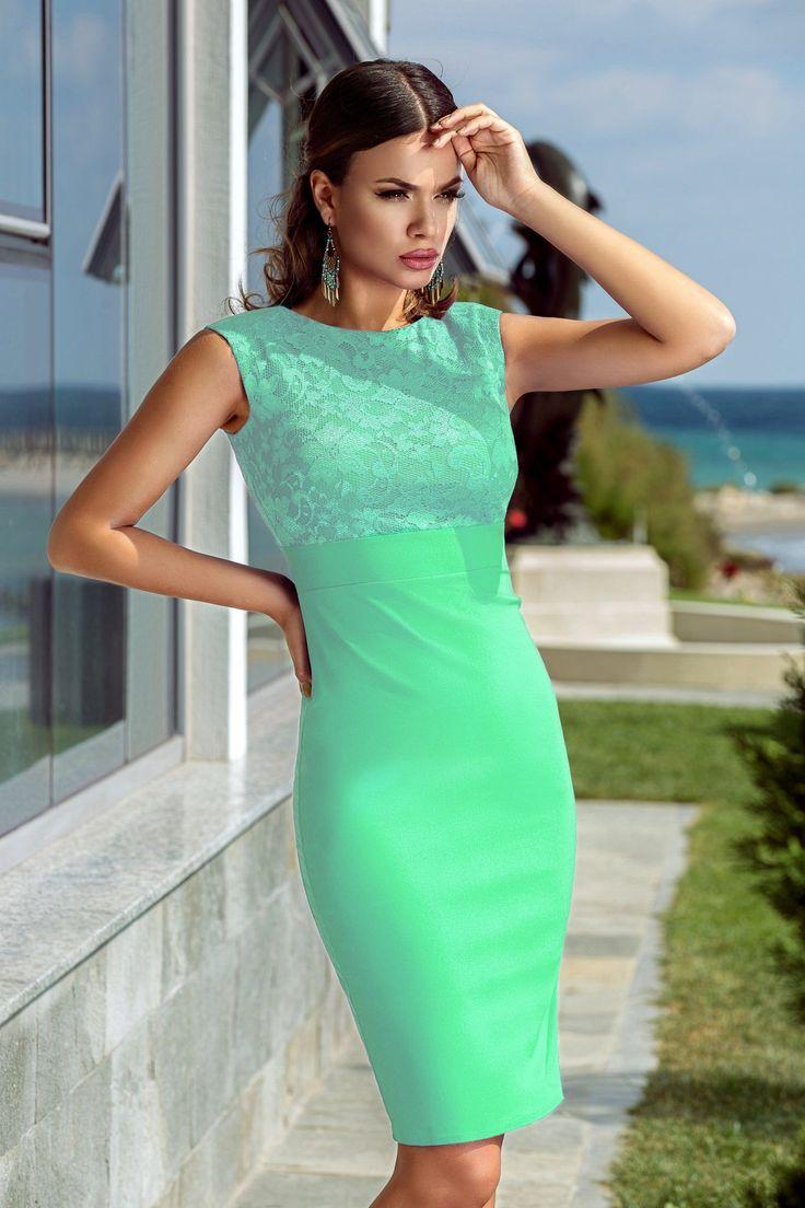 Rochie Fathya Mint 229 lei Rochie eleganta accesorizata cu dantela