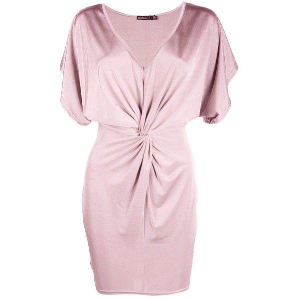 Boohoo Petite Liv Kimono Sleeve Knotted Bodycon Dress | Boohoo ($30) ❤ liked on Polyvore featuring dresses, pink dress, bodycon dress, body conscious dress, petite bodycon dresses and petite dresses