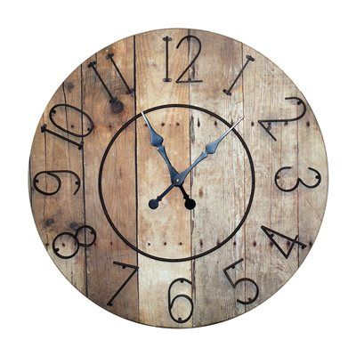 VIP International MT2025 Wood 32-in Clock with Metal Numbers