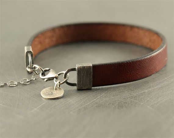 Personalized braclet, mens leather bracelet, sterling silver bracelet, mens jewelry, black/brown, mens accessories, father brother husband