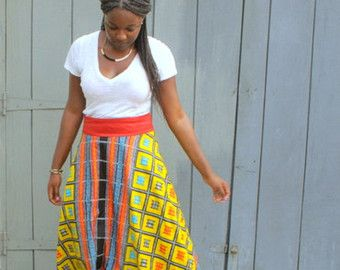 Zoey Ankara Tea Skirt / Ankara Skirt/ African Print by AdinkraExpo