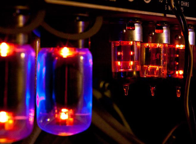 Vacuum tube glowing on bottom