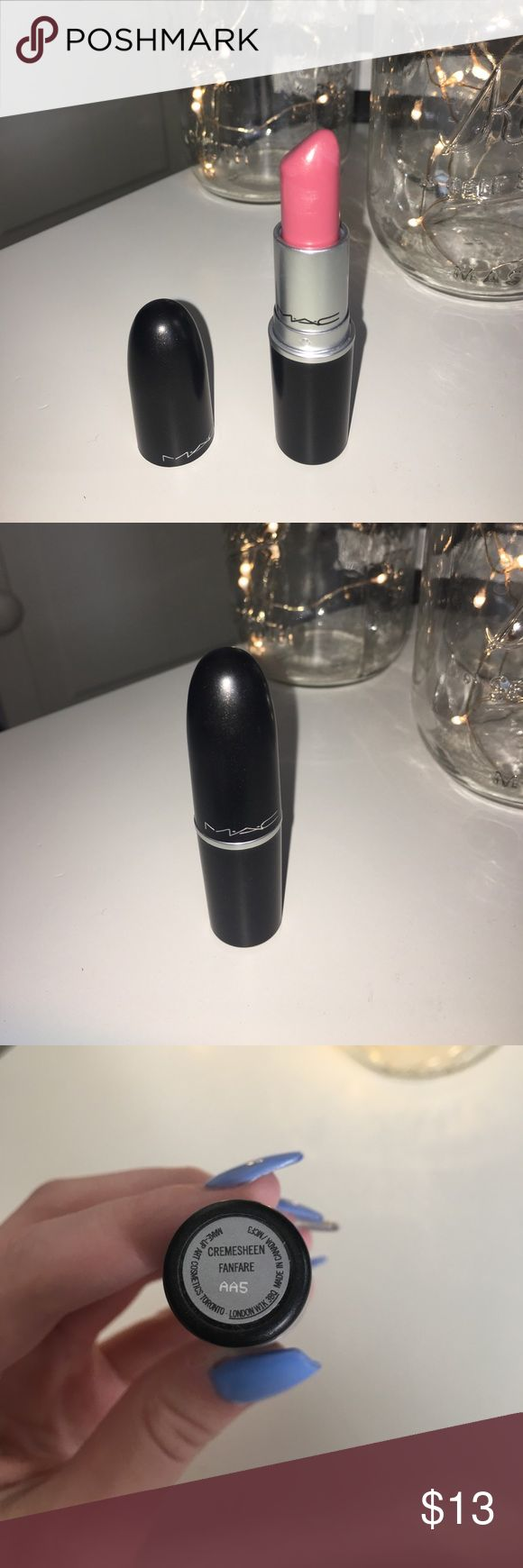 MAC lipstick MAC lipstick in the color cremesheen fanfare. Worn once (sanitized) and swatched for the photo!! Feel free to make offers and ask questions❤️😊 MAC Cosmetics Makeup Lipstick