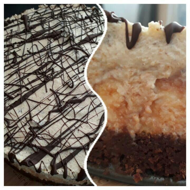3 laagse cheescake!  De onderste laag is een brownie beslag, de 2e laag een cheescake en de bovenste laag een cookie dough chocolate  chip laag.  Totale comfert food!