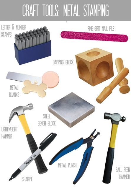 Metal Stamping Craft Tools.  Need to buy a hammer, block, and some metal blanks.