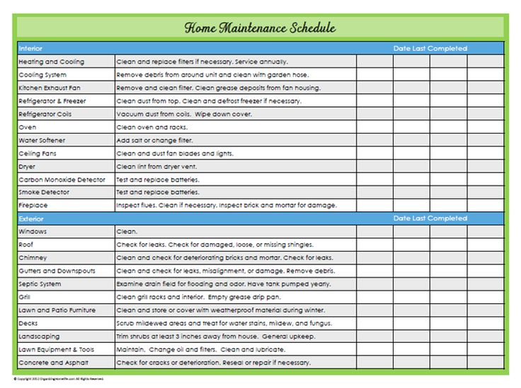31 Days Of Home Management Binder Printables Day 22 Maintenance Schedule
