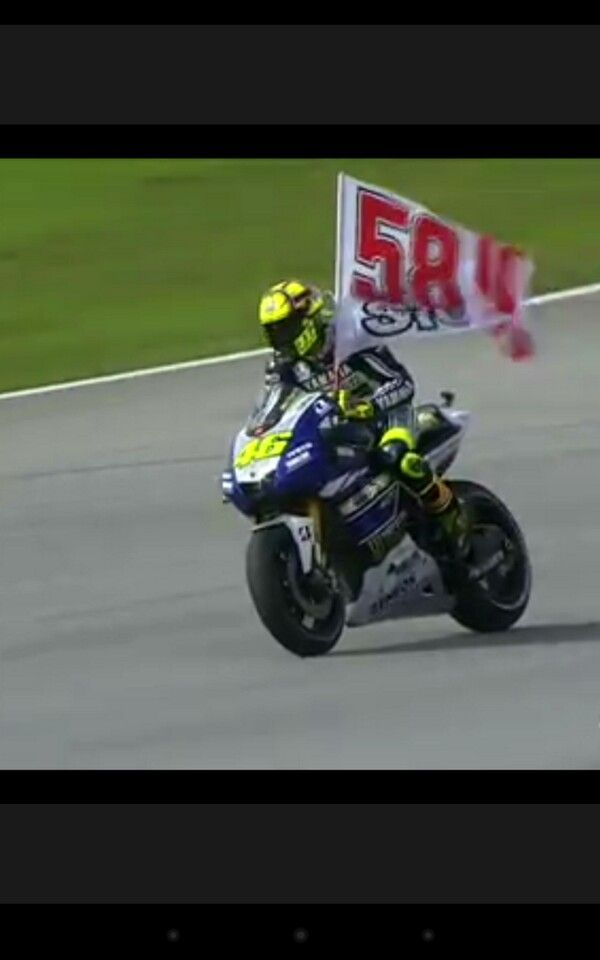 Valentino's fantastic tribute to Marco #58 Gone but never forgotten!