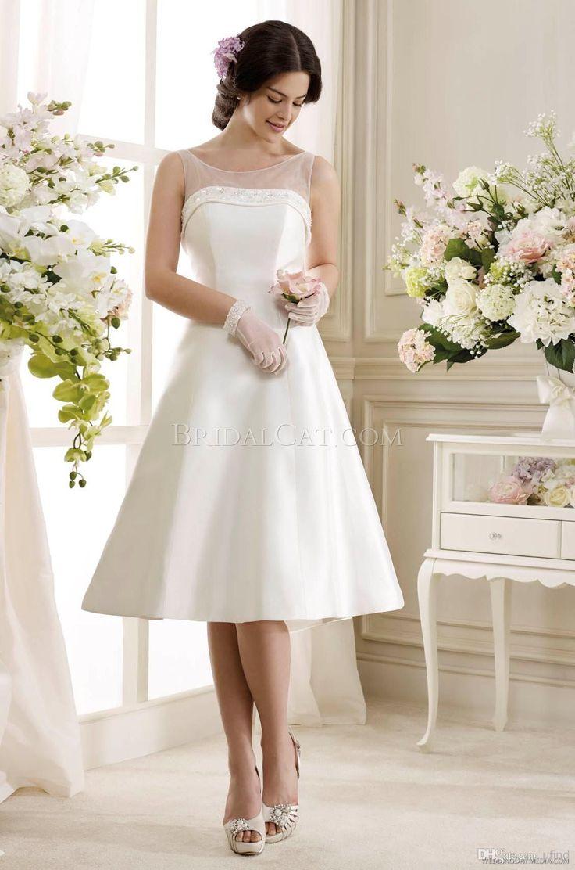 Wholesale Bridesmaid Dresses - Buy 2014 Simple A-line Bateau Beaded Neck Knee Length White Short Wedding Dresses Custom Made Cheap Garden Bridal Gown BRI373, $98.91 | DHgate.com