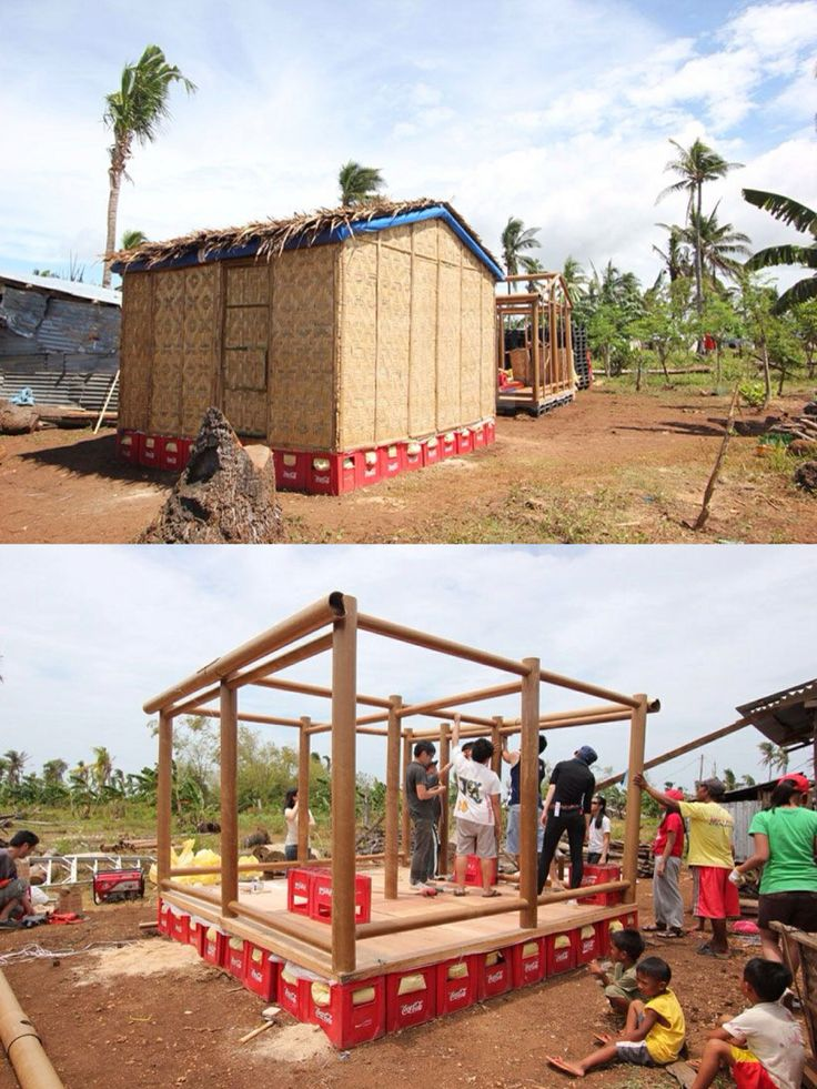 shigeru ban constructs paper log house in the philippines