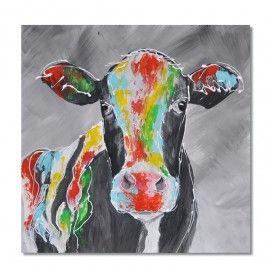 Krowa, nowoczesny obraz malowany ręcznie / The cow, modern acrylic painting [iGaleria] -> Zitolo.com