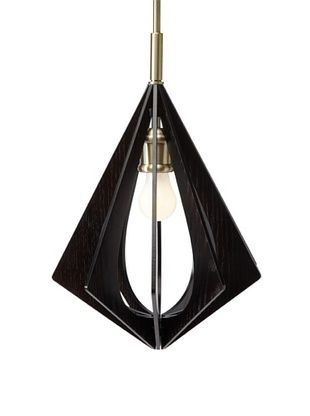 Woodbridge Lighting Foresee 1-Light Mini-Pendant, Classic Brass/Wenge, 10.5