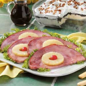 Glazed Ham Steaks Recipe -Sweeten up ham steaks with pineapple and brown sugar. Your family will be so impressed with this yummy dish, they will ask for it often.—Ernestine Beoughter, Lawrenceville, Illinois