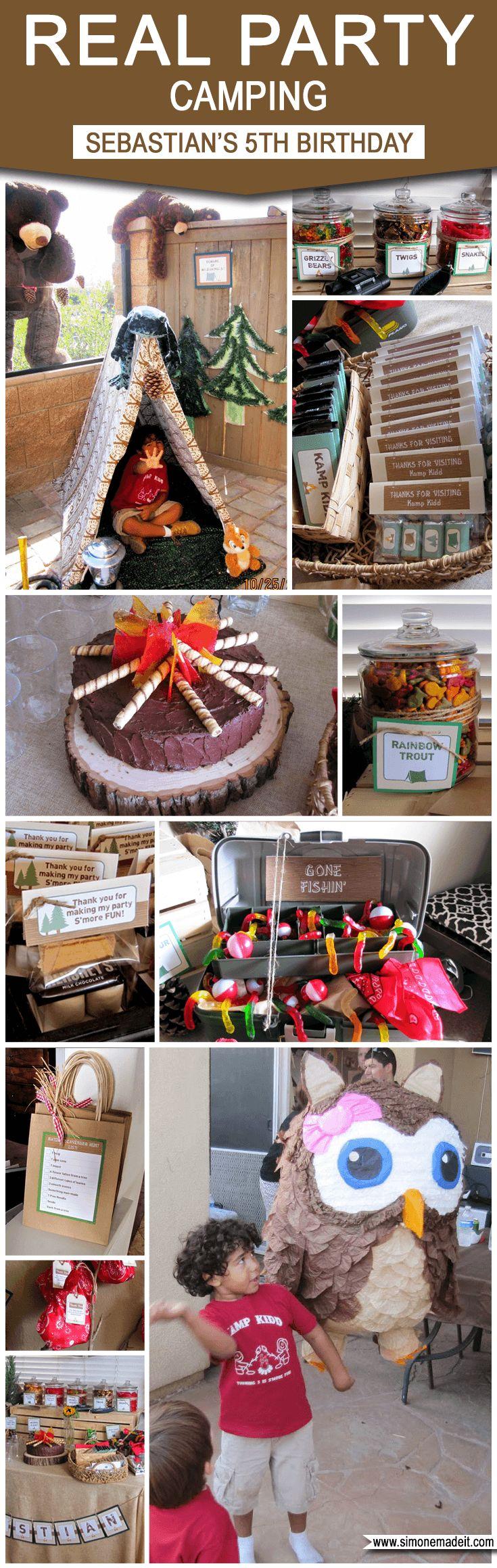 Camping Birthday Party Theme Ideas | Sebastian's 5th Birthday Campout | Camp Birthday Party Ideas & Inspiration