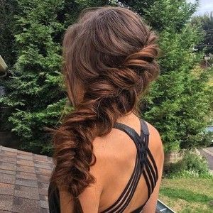 Side Swept Fishtail Braid Prom Hairstyles