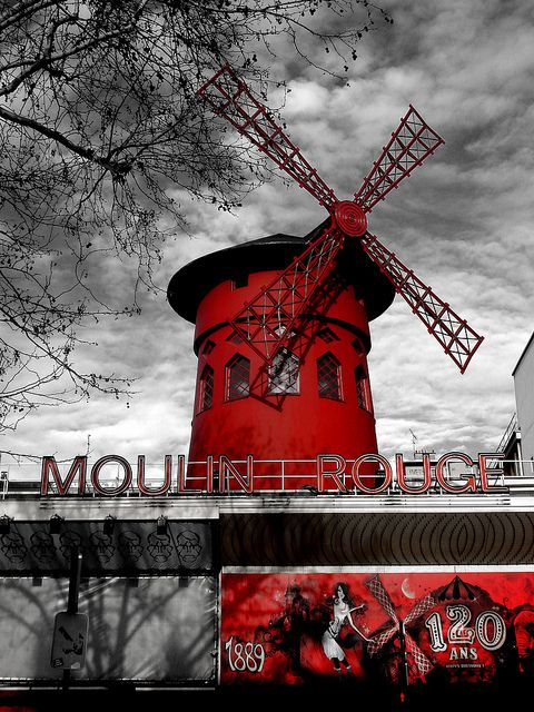 Moulin Rouge, Paris.  I love the saturated reds and blacks and the deep shadings of gray in this photo.