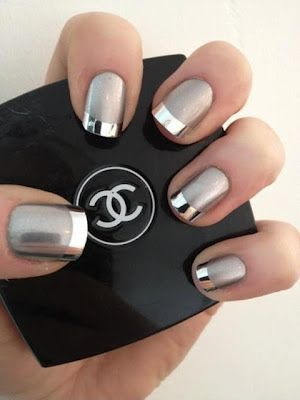 Chanel mirrored nails: plain silver nail polish and silver nail foil strips