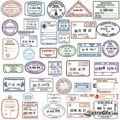 Passport Stamps for badges/ crafting.