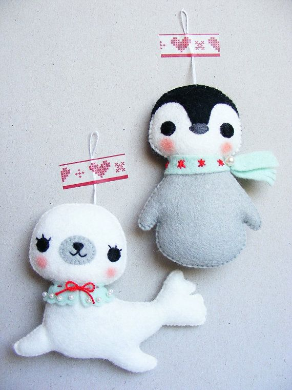 PDF pattern - Baby seal & penguin - felt Christmas ornaments, hand sewing DIY project, sewing pattern