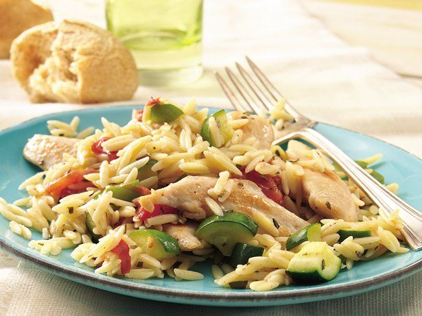 Eating your veggies is easy when paired with tender chicken and orzo in a 30-minute main dish.
