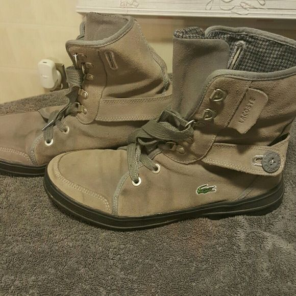 Lacoste woman's grey boots Size 10 woman's lacoste grey boots. Good condition. Lacoste Shoes Combat & Moto Boots