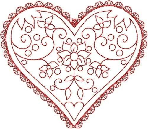 20 redwork hearts. $8