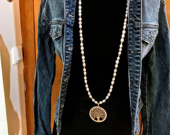 #forher#necklace#handmade#Boho#ethnic#jewlery#gifts#mala#style  Long ivory Freshwater Pearl Necklace, long gold tree of life necklace, long ivory pearal necklace, long pearl necklace, gift necklace