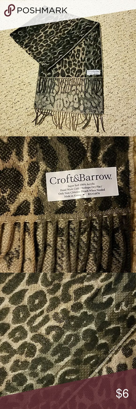 Croft & Barrow Cheetah Scarf Super soft never worn cheetah print scarf. Tones of black and gray in color. Let me know if there's any questions! croft & barrow Accessories Scarves & Wraps