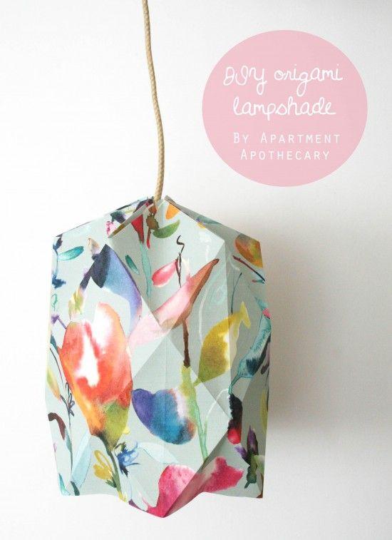 DIY Origami lampshade | Wallpaper craft idea | Craft tutorial | Geometric lampshade