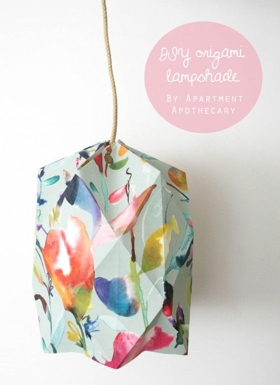 DIY Origami lampshade | Wallpaper craft idea | Craft tutorial | Geometric lampshade